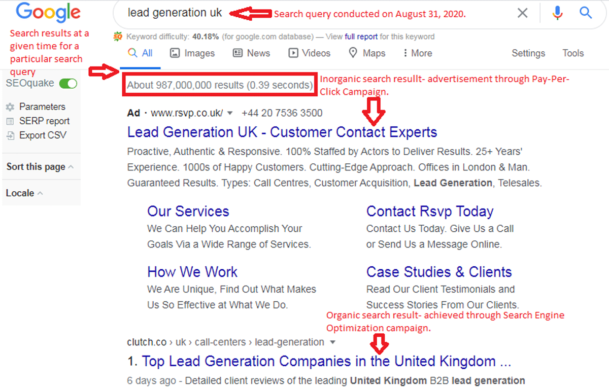 Search results sample for local SEO