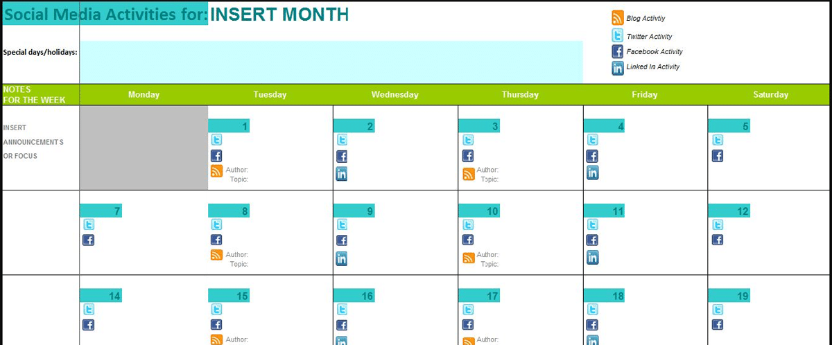 Picture showing the Social Media Marketing Calendar.